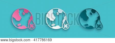 Paper Cut Water Drop Percentage Icon Isolated On Blue Background. Humidity Analysis. Paper Art Style