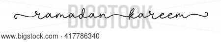 Ramadan Kareem. Hand Drawn Arabic Script For Greeting Card. Modern Calligraphy Cursive Typography Ra