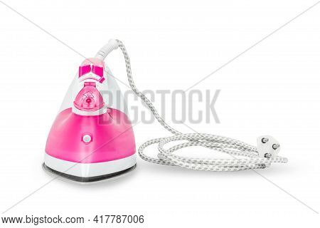 Iron Steam Housework Ironed Electric Tool Clean, On A White Background. Ironing Steam Housekeeping.