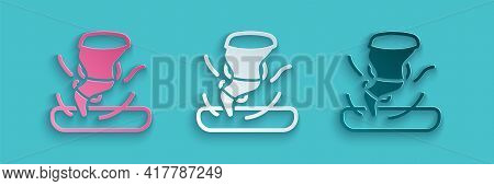 Paper Cut Tornado Icon Isolated On Blue Background. Cyclone, Whirlwind, Storm Funnel, Hurricane Wind