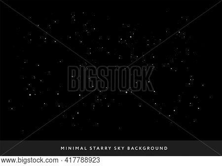 Minimal Starry Night Sky Background - Vector Few Stars Space Background Illustration