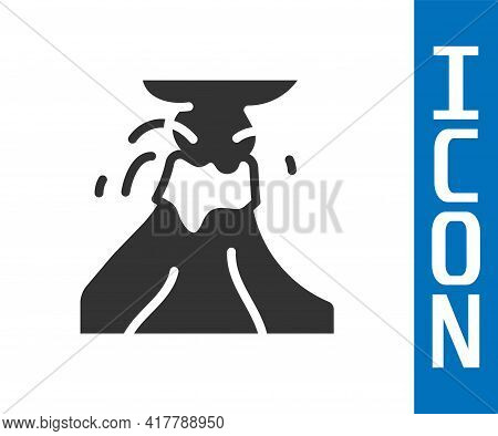 Grey Volcano Eruption With Lava Icon Isolated On White Background. Vector
