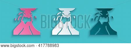 Paper Cut Volcano Eruption With Lava Icon Isolated On Blue Background. Paper Art Style. Vector