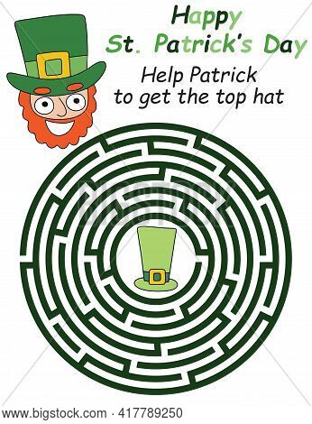 Funny Labyrinth Game With Top Hat Printable Activity Page Stock Vector Illustration. Help Patrick To