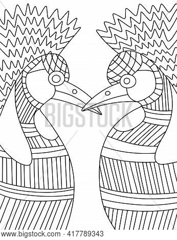 Two Grey Crowned Crane Birds Hand-drawn Linear Coloring Page For Adults And Kids Stock Vector Illust
