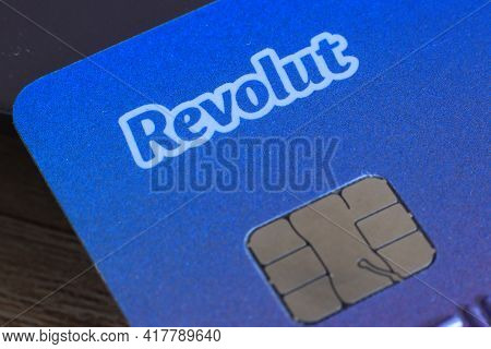 Berlin, Germany - April 21, 2021: Revolut Logo On A Bank Card. Revolut Is A Fast, Simple, And Easy W