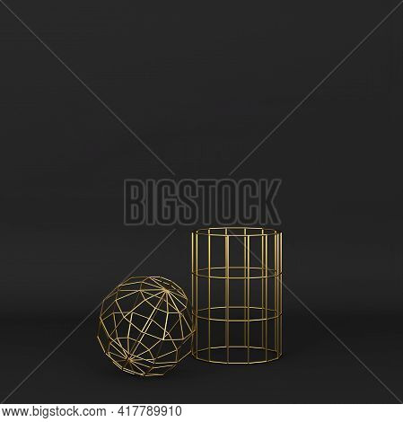 Set Of Abstract Wired Geometric Primitives . Minimal Design. 3d Illustration