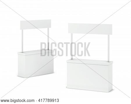 Blank Promo Counter Stand Mockup. 3d Illustration Isolated On White Background