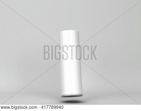 Blank Aerosol Tube Mockup. 3d Illustration On Gray Background