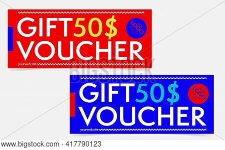 Gift Voucher, Certificate Or Discount Card Template Set. Promo Compliment With Monetary Value Reward