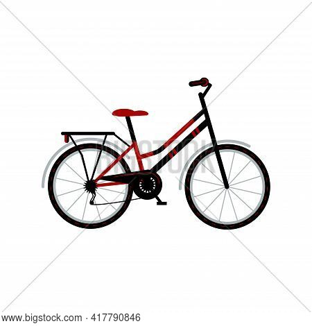 Bicycle With A Trunk For Travel And City Trips. Bike For Travel. Hobby. Flat Style Vector Illustrati