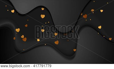 Black smooth waves and golden hearts luxury background