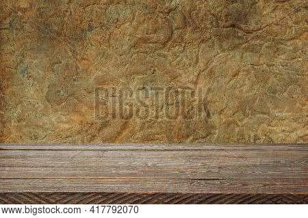 The Background Is Blank Wooden Boards And A Textured Plastered Wall With Lighting And Vignetting. Fo