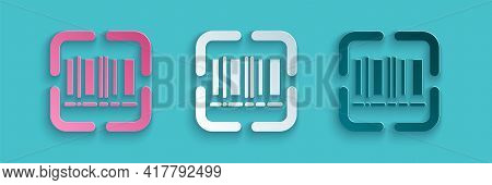 Paper Cut Scanner Scanning Bar Code Icon Isolated On Blue Background. Barcode Label Sticker. Identif