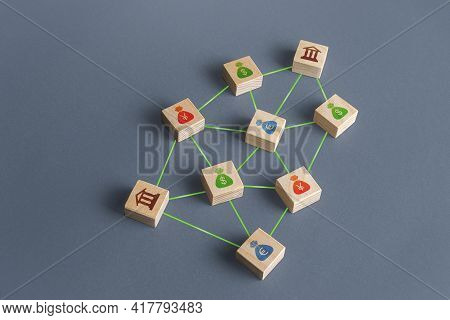Banks And Money Connected In A Network Of Lines. Financial System. Borrowing Of Credit Funds In Inte