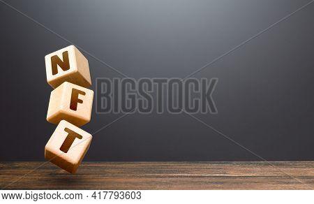 Nft Blocks. Nft Non-fungible Token. Selling Digital Art Assets On Internet Auctions. Monetization, I