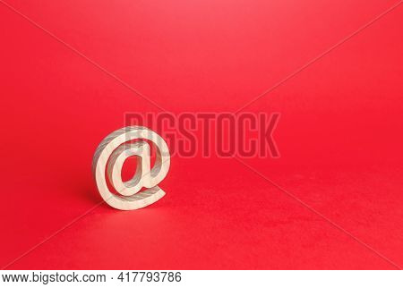 Email Figure On Red Background. At Commercial Symbol. Contacts Communication. Business Representatio