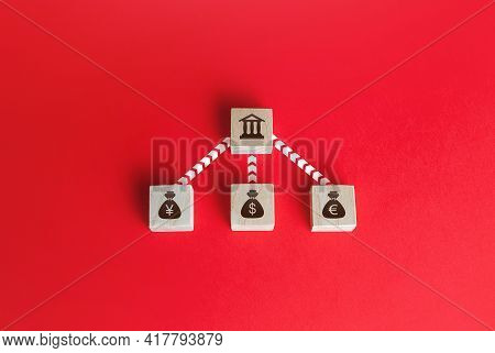 Currencies Money Bags Are Connected To The Bank By Lines . Financial System, National Foreign Exchan