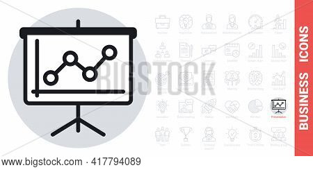 Presentation Billboard Icon With Growing Line Chart. Simple Black And White Version From A Series Of