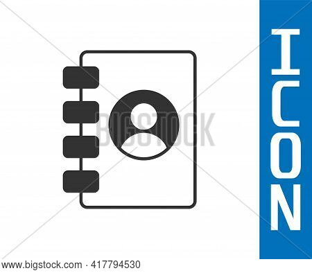 Grey Address Book Icon Isolated On White Background. Notebook, Address, Contact, Directory, Phone, T