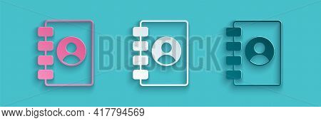 Paper Cut Address Book Icon Isolated On Blue Background. Notebook, Address, Contact, Directory, Phon