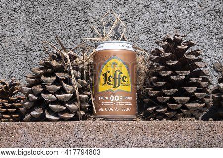 Sint Gillis Waas, Belgium, April 19, 2021, A Can Of Dark Leffe, Special Belgian Beer With 0.0 Or Zer