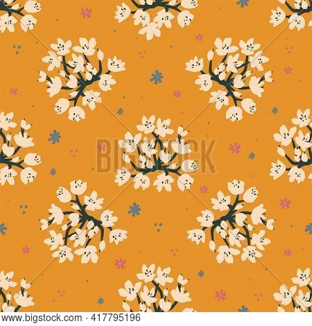 Vector Allium Roseum Flower Illustration Motif Seamless Repeat Pattern Pastel Light Blue Background