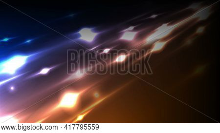Bright glowing traces of comets in space abstract background