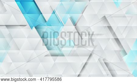 Blue grey technology geometric low poly abstract background