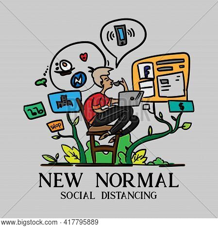 New Normal Illustration Working At Home Vector.