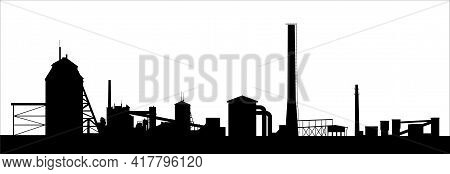 Oil Shale Processing Plant Silhouette Isolated On White. Technical Buildings And High Chimneys. Long