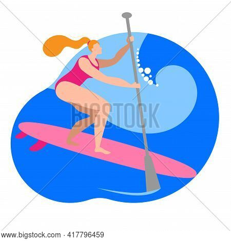 A Girl In A Swimsuit With A Paddle Stands On A Surfboard. Vector Icon In A Flat Style On The Theme O