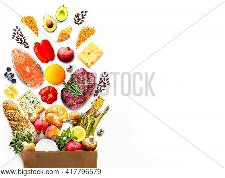 Paper Bag With Healthy Food.vegetarian Food.healthy Food Background.supermarket Food Concept.asparag