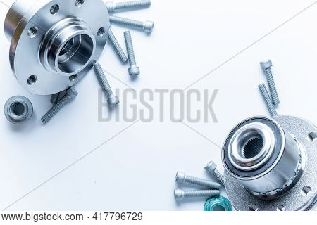 Silent Blocks. Set Of New Metal Car Part. Auto Motor Mechanic Spare Or Automotive Piece Isolated On