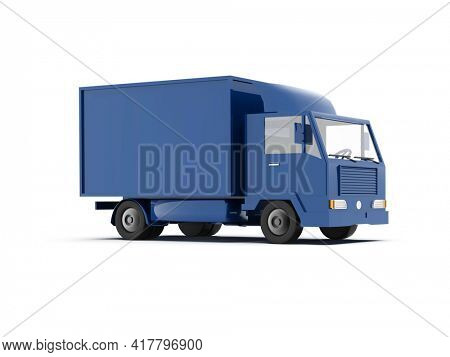 3d Illustration Delivery Truck on a White, Template Element Infographic, Fast Delivery, Blue Delivery Truck Icon, Transporting Service, Packages Shipment