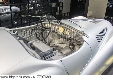 Germany, Munich - April 27, 2011: Salon Of The 1939 Bmw 328 Sports Car In The Exhibition Hall Of The