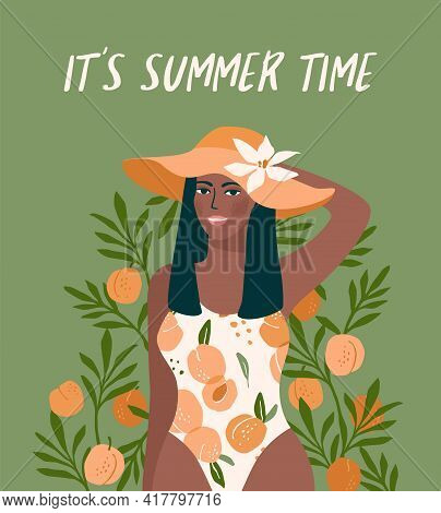 Vector Illustration Of Woman In Bright Swimsuit. Design For Summer Concept And Other.
