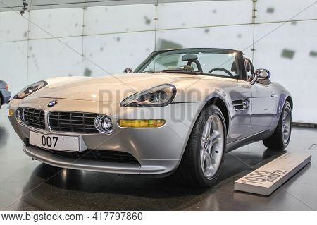Germany, Munich - April 27, 2011: Two-seat Bmw Z8 Or E52 Sports Roadster In The Bmw Museum Exhibitio