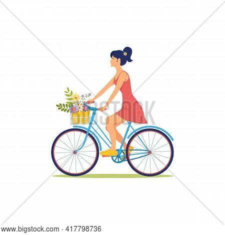 Woman In Dress Rides Bicycle With Basket Of Flowers. Summer Bike Ride. Girl Is Cyclist. Cute Illustr