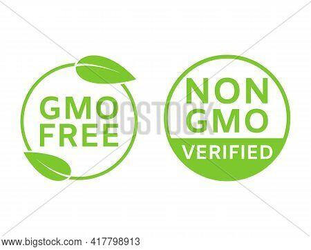 Gmo Free Icons. Non Gmo Labels. Healthy Organic Food Concept. No Gmo Design Elements For Tags, Produ