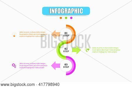 Vector Infographic Design Template With 3d Circular Diagram In Three Steps. Concept Planning Busines