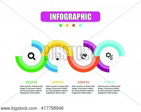 Vector Infographic Design Template With Circular In Four Steps. Concept Planning Business Infographi