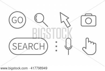 Search Line Icons Set. Magnifying Glass, Search, Cursor Pointer, Go, Microphone, Camera Symbols. Sea