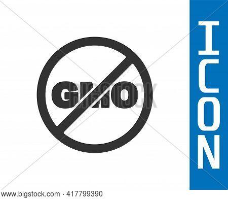 Grey No Gmo Icon Isolated Grey Background. Genetically Modified Organism Acronym. Dna Food Modificat