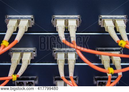 Cable Network, Fiber Optic Cable Connect To Switch Port In Server Room ,concept Network Management