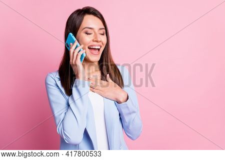 Photo Of Young Attractive Woman Call Talk Cellphone Mobile Happy Laugh Humor Joke Isolated Over Pink