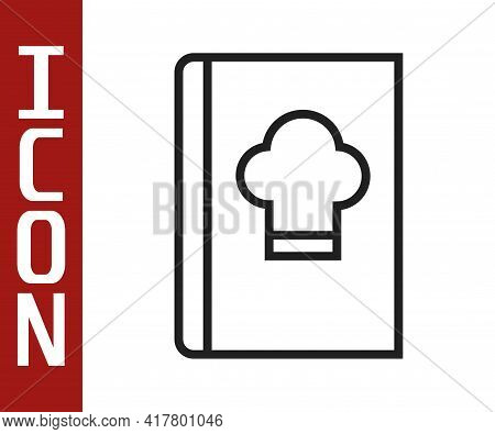 Black Line Cookbook Icon Isolated On White Background. Cooking Book Icon. Recipe Book. Fork And Knif
