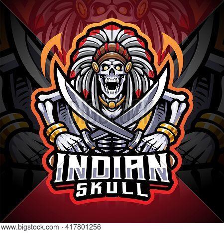 Indian Skull Esport Mascot Logo With Text