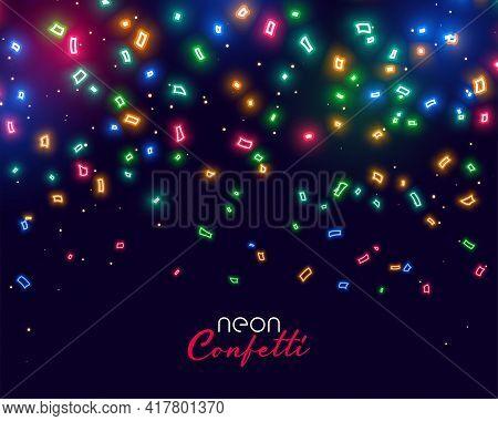 Beautiful Glowing Neon Falling Confetti Background Design Vector Illustration