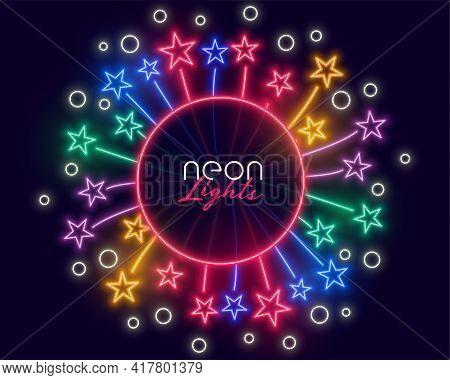 Neon Celebration Frame With Stars Bursting Outwards